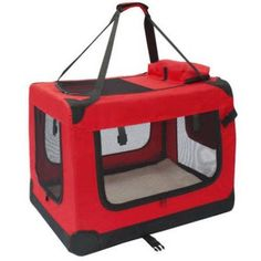 Aleko 26X19.5X19.5 inch Red Large Heavy Duty Collapsible Pet Carrier Portable Pet Home Spacious Traveler Pet Bag
