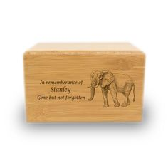 Proud Elephant Bamboo Box Cremation Urn - Large - Holds Up To 200 Cubic Inches of Ashes - Natural Brown Bamboo Box, Sliding Panels, Cremation Urns, Natural Brown, Pet Memorials, Biodegradable Products, Elephant, Place Card Holders, Pattern