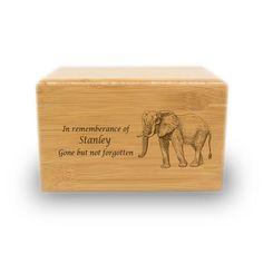Proud Elephant Cremation Urn - Bamboo Box