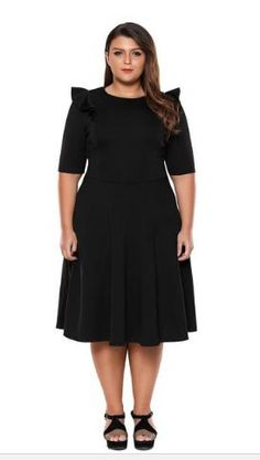 f507856405345 Plus size skater dress in solid color Round neck  half sleeves and frill  detailing cheap