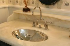 Giannetti Home - bathrooms -  hammered oval sink, bridge faucet with bridge bathroom faucet