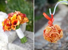 LOVE these flowers for a nice fall wedding. (Part of orange and purple Texas wedding on a blog)