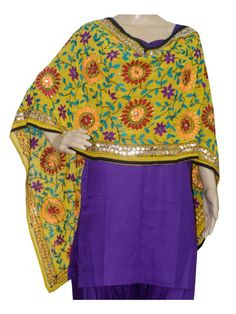 Super Georgette Stole Handembroidery SuperGeorgette Stole with Traditional Embroidery Work  Stole Length 2.25 Meter, Width 0.5 Meter  Wash Care Dry Clean Shop Now : http://www.jankiphulkari.com/yellow-super-georgette-stole-jsgs1219