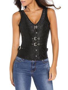 62ad62342e Chic V Neck Jacquard Back Lace Up Corset For Women
