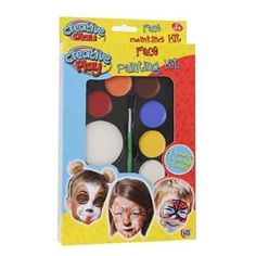 Childrens Kids Party Face Paints Make Up Face Painting Kit Red Black Blue White