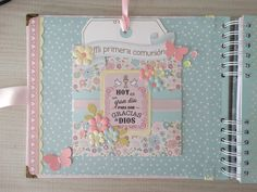 Heli Papeles ♥: Libro de firmas Baby Scrapbook, Scrapbook Albums, First Communion, Mini Albums, Embellishments, Bullet Journal, Big Shot, Ideas Para, Collages