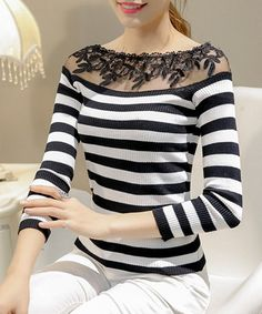 Women's Fashionable Long Sleeve Voile Striped Sweater