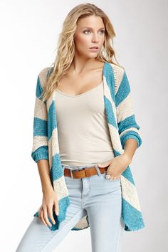 Striped Open Front Sweater on HauteLook