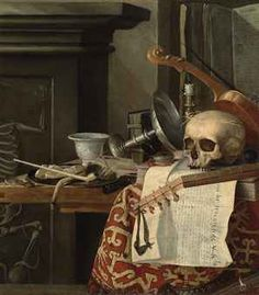 Master Painting Old Violinist | Vanitas : A skull, a violin, an upturned tazza , books, tarot cards, a ...