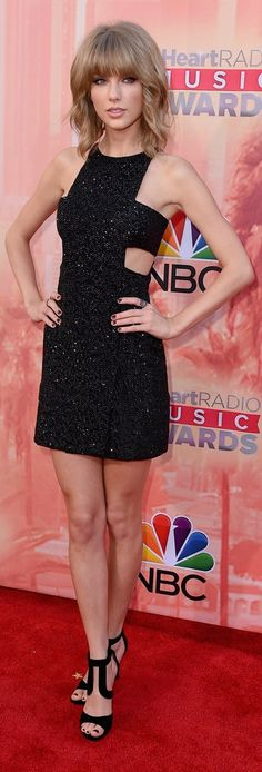 Taylor Swift in a Kaufmanfranco sparkling cutout mini at the iHeartRadio Awards.