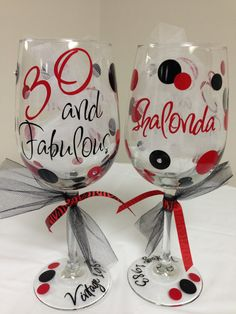 30/40/50/60 and Fabulous Birthday Wine Glass by LilyLuGifts, $14.00