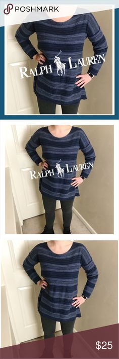 """Ralph Lauren Oversized Denim & Supply Sweater Ralph Lauren Denim & Supply  Ralph Lauren's vintage line.  Oversized long sleeve sweater.  Blues.  Size large.  Could fit small-large depending on style.   Sweatshirt Top details: 76% linen  24% cotton  Pit to pit 23"""" Length 27"""" Denim & Supply Ralph Lauren Sweaters"""