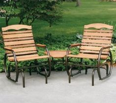 Outdoor Patio Gliders 2 Seat Double Wood Glider With Table Garden Deck Furniture #JackPost