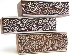 Floral Border Indian Wood Block Stamps Hand carved in India