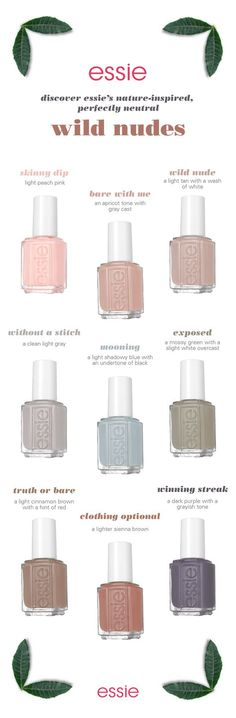 partial to neutral shades with a distinctive point of view? look no further. the essie wild nudes collection is a modern take on a neutral palette for your nails, featuring rich crème colour shades with an edgy attitude. Spring Nail Colors, Spring Nails, How To Do Nails, Fun Nails, Neutral Nail Color, Super Nails, Nail Polish Collection, Nagel Gel, Looks Style