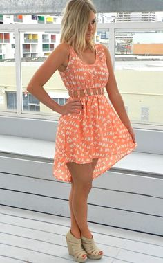 spring peach dress and wedges!