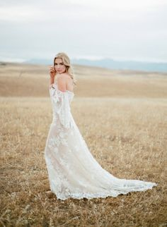 Boho off the shoulder wedding dress