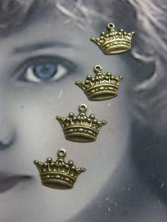 Mini Ornate Brass Ox Plated Crown Charms 385BOX x4. $3.00, via Etsy.