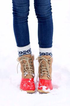 snow boots with cute socks