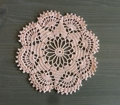 Crochet Doily in peach pink, pastel orange: table decor, home decor by NadoandLola on Etsy Orange Table, Crochet Doilies, Coasters, Crochet Earrings, Peach, Pastel, Table Decorations, Unique Jewelry, Handmade Gifts