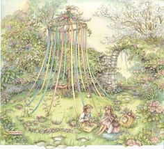'Maypole in the Glade' - art/illustration by Kim Jacobs ~*~ (May Day, spring, tradition)