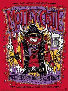 Motley Crue hand printed silkscreen concert poster by JeffLaChance, $20.00