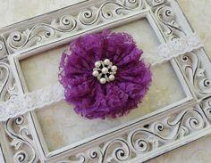 Baby Headband -  Purple Lace Flower Headband  - Infant Headband -  Girls Headband - Photo Prop on Etsy, $9.95