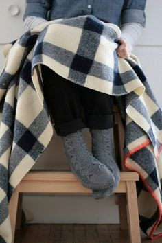 Wooly Socks with Black and White Gingham Blanket