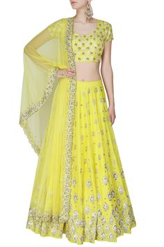 Astha Narang presents Yellow and gold gota and sequins motifs lehenga set available only at Pernia's Pop Up Shop.