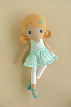 Fabric Doll Rag Doll Blond Blond Haired Girl in Mint Green