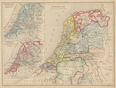 Nederland op het einde der 13de Eeuw, een antieke kaart van Nederland door De Erven Thierry en Mensing uit 1858