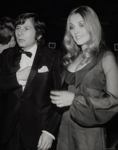 "Sharon Tate & Roman Polanski at the 1968 Golden Globes - she was nominated as Best Female Newcomer for ""Valley of the Dolls"""