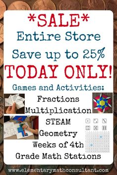Elementary teachers and parents, this is the sale for you! Engaging, high quality, Common Core standards aligned MATH GAMES and ACTIVITIES. Your students will love them! Math Board Games, Math Games, Math Stations, Math Centers, Elementary Teacher, Elementary Schools, Common Core Math Standards, Math Practices, 4th Grade Math
