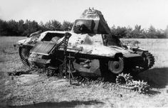Another destroyed FCM 36 light tank. If their armor wasn't thick enough to stand against Panzer III, their 37 mm canon was also ridiculously weak. Some French tankers engaged Panzers at a 20 to 15 m distance to have a decent chance to do some damage... Pin by Paolo Marzioli