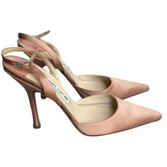 Pre-owned Jimmy Choo Triumph Nude/blush Pumps ($283) ❤ liked on Polyvore featuring shoes, pumps, nude, jimmy choo, jimmy choo stilettos, satin shoes, sling back shoes e heels stilettos