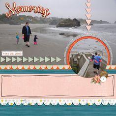 beach memories scrapbook layout ocean scrap book page digital sea coast