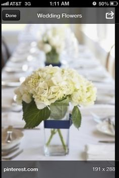 White centerpiece w/gold ribbon instead of navy