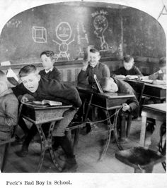 boys-of-the-past: Peck's bad boy in school - Boy at desk, yelling and boy at desk behind him with string attached to item on first boy's seat. Old School House, School Boy, School Life, High School, Getting Spanked, Boston Public Library, Vintage School, Us History, Vintage Photographs