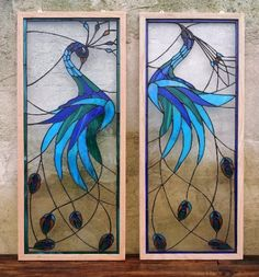 "Stained glass panels - ""Iridescent Peacock"" (P-26). $425.00, via Etsy."
