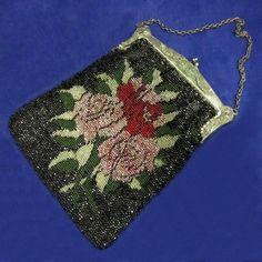 vintage floral beaded bag