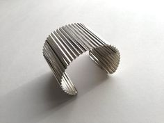 Vintage Silver Tone Metal Cuff Crimped Metal by ClassiqueStyle, $15.00