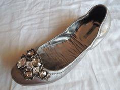 MIU MIU METALLIC SILVER LEATHER JEWELED BALLET FLATS on www.fullcirclefashion.com