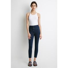 Forever 21 Women's  Classic High-Waisted Jeans ($20) ❤ liked on Polyvore featuring jeans, high waisted jeans, forever 21 jeans, forever 21, white high waisted jeans and white jeans