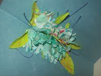 Teals and blues  -  some yellows and greens - created to make one cool looking flower pop up card - hand created / cut and carved -