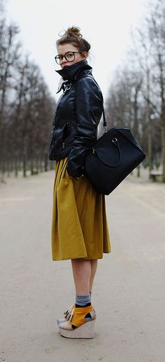 Yellow + sand coloured wedges + leather jacket + knee length skirt   - the sartorialist