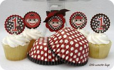 sock monkey Diaz or I can make these. Monkey Party Favors, Monkey Birthday Parties, Birthday Ideas, Sock Monkey Cupcakes, Sock Monkey Party, Cupcake Toppers, Cupcake Liners, Curious George Party, Baking Cups
