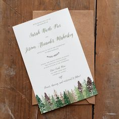 Rustic wedding invitation with woodsy greens and browns by starboardpress via etsy. #rusticwedding #weddinginvitations