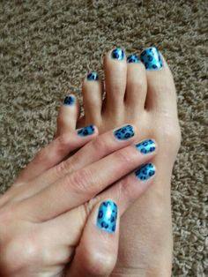 blue leopard manicure and pedicure