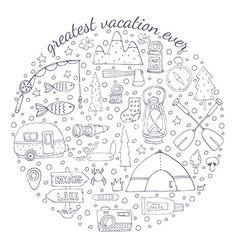 Adventure emblem vector travel doodles - by Julia_Henze on VectorStock®