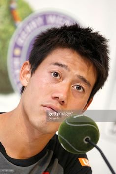 Kei Nishikori of Japan during the press conferenc after his match against Dustin Brown of Germany during day four of the Gerry Weber Open at Gerry Weber Stadium on June 18, 2015 in Halle, Germany.